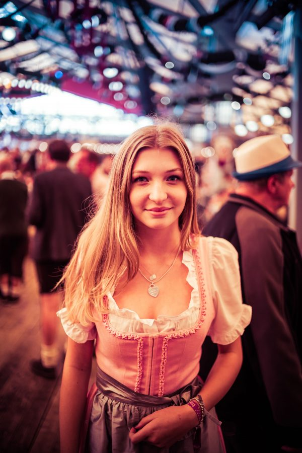 "Another one of the revelers… everyone looks good in these German outfits. The female one is called a ""Dirndl."""